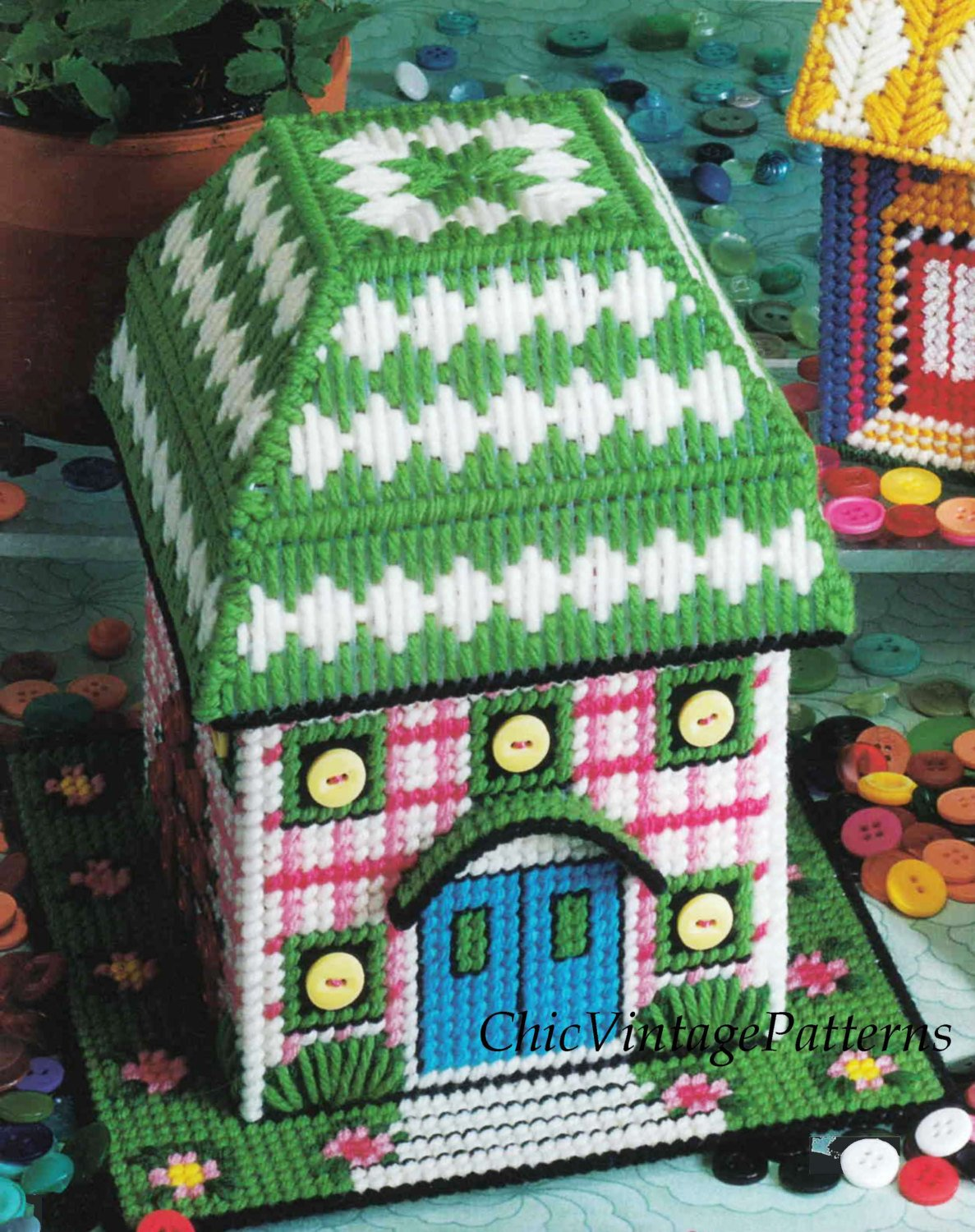 Plastic Canvas Tissue Chateau, Instant Download Pattern