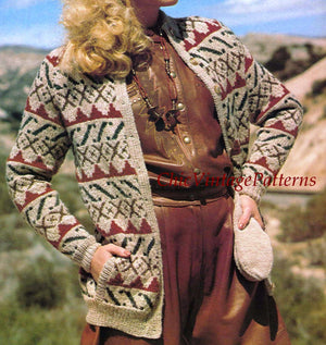 Ladies Jacket, Hat and Mitts Fair Isle Knitting Pattern, Instant Download