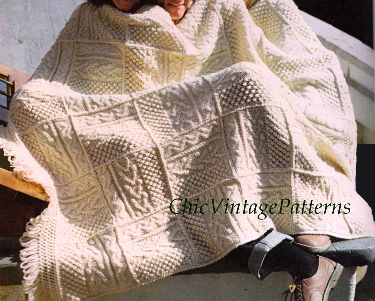 Knitted Afghan Rug Pattern, Irish Fisherman's Afghan, PDF Knitting Pattern