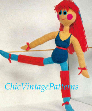 Ballerina Doll Knitting Pattern, Soft Toy Doll Pattern, Instant Download