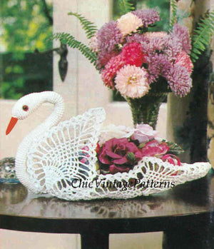 Crochet Swan Pattern, 1970's Ornamental Swan, Instant Download