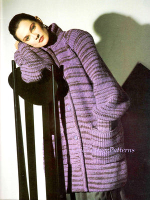 Knitted Coat Pattern, Ladies Long Line Jacket, Instant Download Pattern