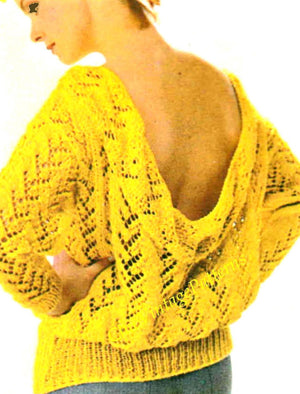 Knitted Ladies Sweater Pattern, Stylish Low Cowl Back, Instant Download