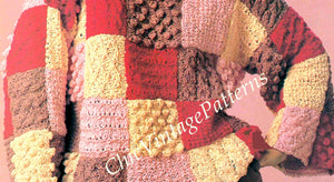 Knitted Ladies Sweater Pattern, Patchwork Design, Instant Download