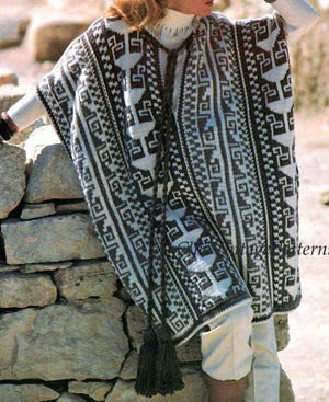 1970's Poncho Knitting Pattern, Inca Style, Fair Isle, Instant Download