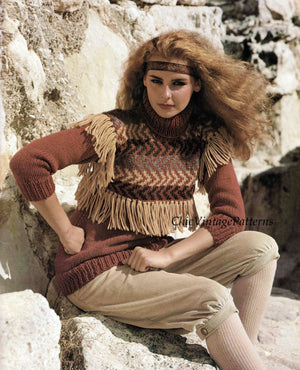 Knitted Ladies Sweater Pattern,  Inca Style, Attractive Design, Instant Download
