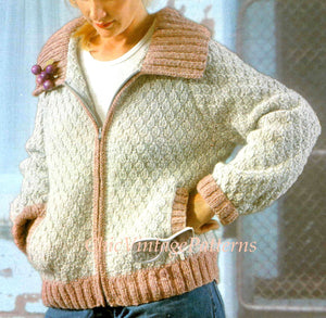 Ladies Knitted Sports Jacket Pattern, Chunky Bomber Style, PDF Knitting Pattern