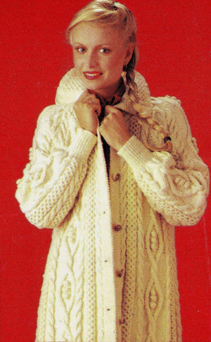 Ladies Aran Coat Knitting Pattern, Stunning Coat, Instant Download