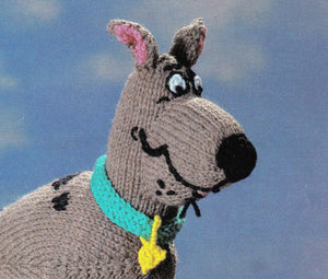 Scooby Doo Knitting Pattern, Soft Toy Scooby and Scrappy Doo, PDF Knitting Pattern