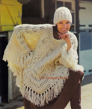 Knitted Poncho and Hat Pattern, Ladies Fringed Aran Poncho, PDF Knitting Pattern