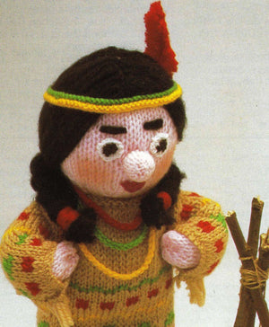 Knitted Soft Toy Pattern, Indian Squaw, Instant Download