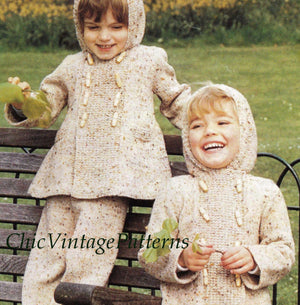 Children's Jacket and Pants Knitting Pattern, Hooded Coat and Pants, Digital Pattern