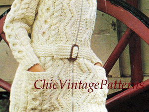 Ladies Knitted Aran Jacket, Belted Cardigan, Instant Download