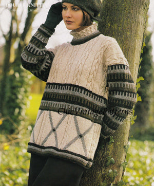 Knitted Ladies Sweater Pattern, Cable Tunic Style, Polo Neck, Digital Pattern