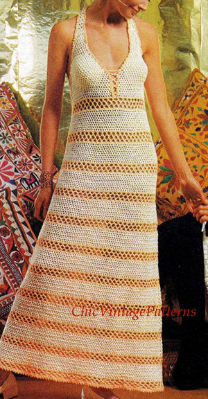 Crochet Dress Pattern, Ladies Evening Dress, PDF Crochet Pattern