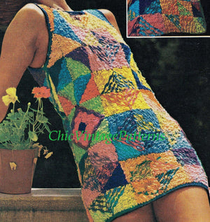Knitted Patchwork Dress Pattern, Ladies Summer Dress, Instant Download