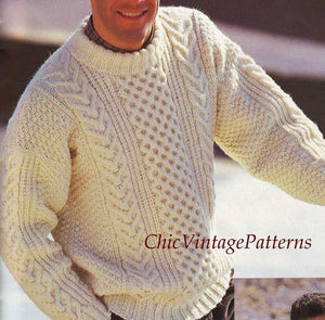 Men's Knitted Sweater Pattern, Traditional Aran, Instant Download