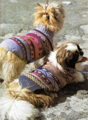 Knitted Dog Coat Pattern, Turtleneck Jaquard Coats, Digital Download