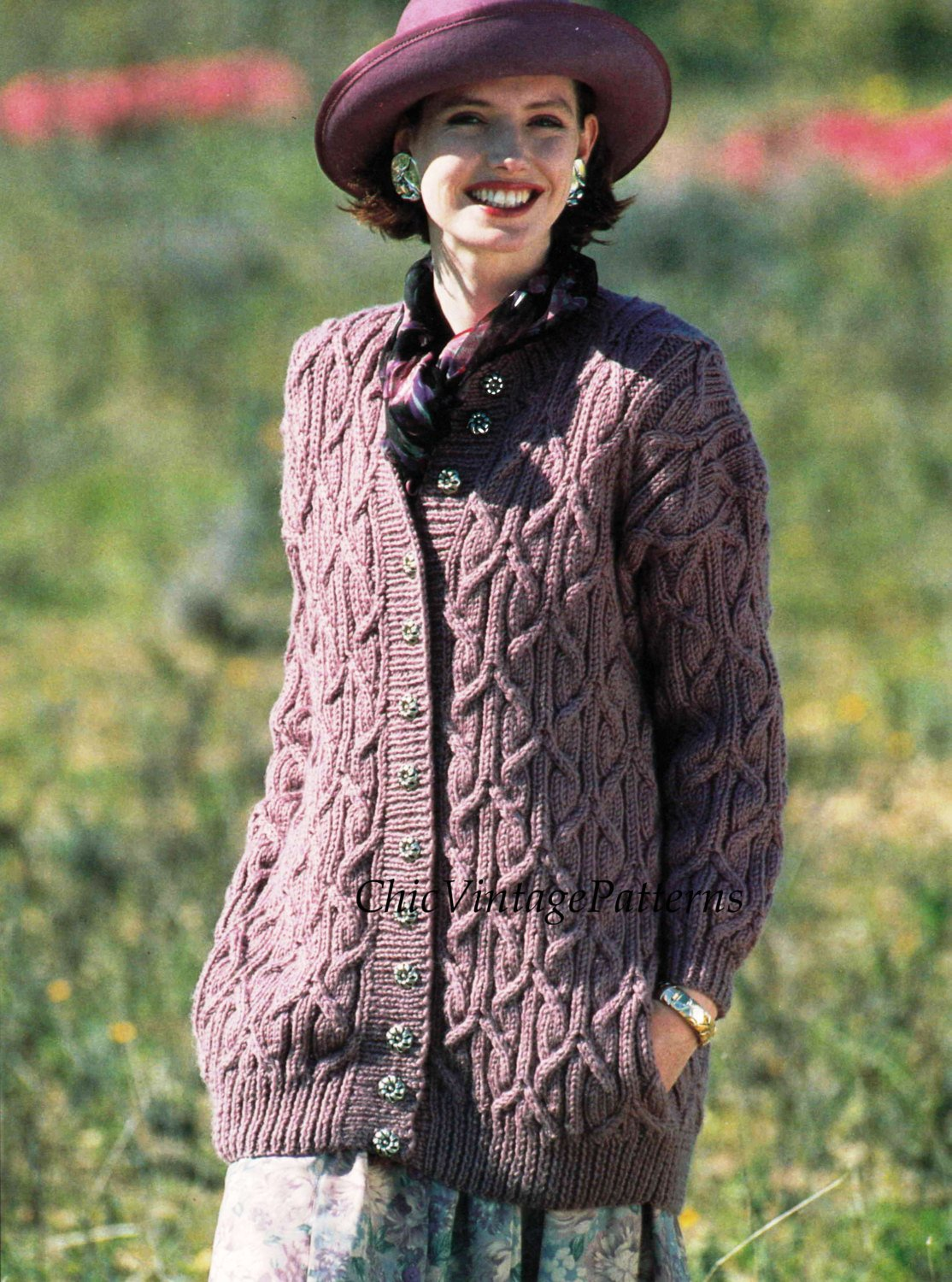 Ladies Cable Cardigan, PDF Knitting Pattern, Knitted Jacket