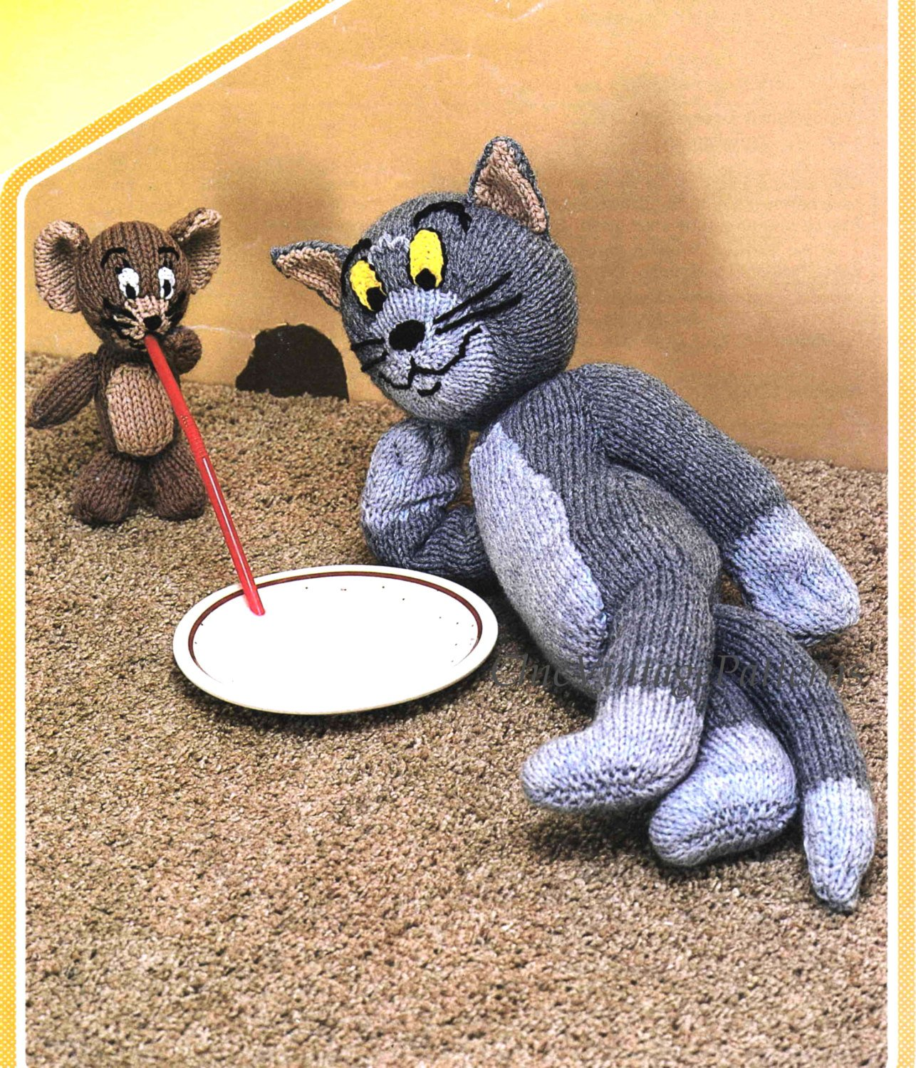 Tom and Jerry Knitting Pattern, Instant Download, Vintage Soft Toys
