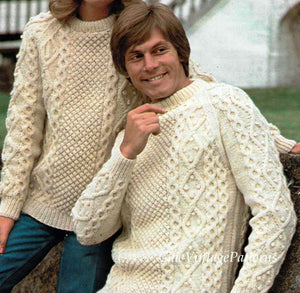 Classic Aran Sweaters, His & Her Jumper Knitting Pattern, Instant Download