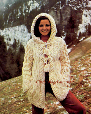 Aran Hooded Cardigan Knitting Pattern, Ladies Jacket, Instant Download