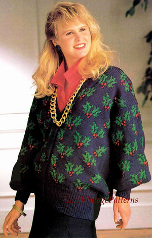 Ladies Knitted Christmas Cardigan Pattern, Holly Jacket, Instant Download