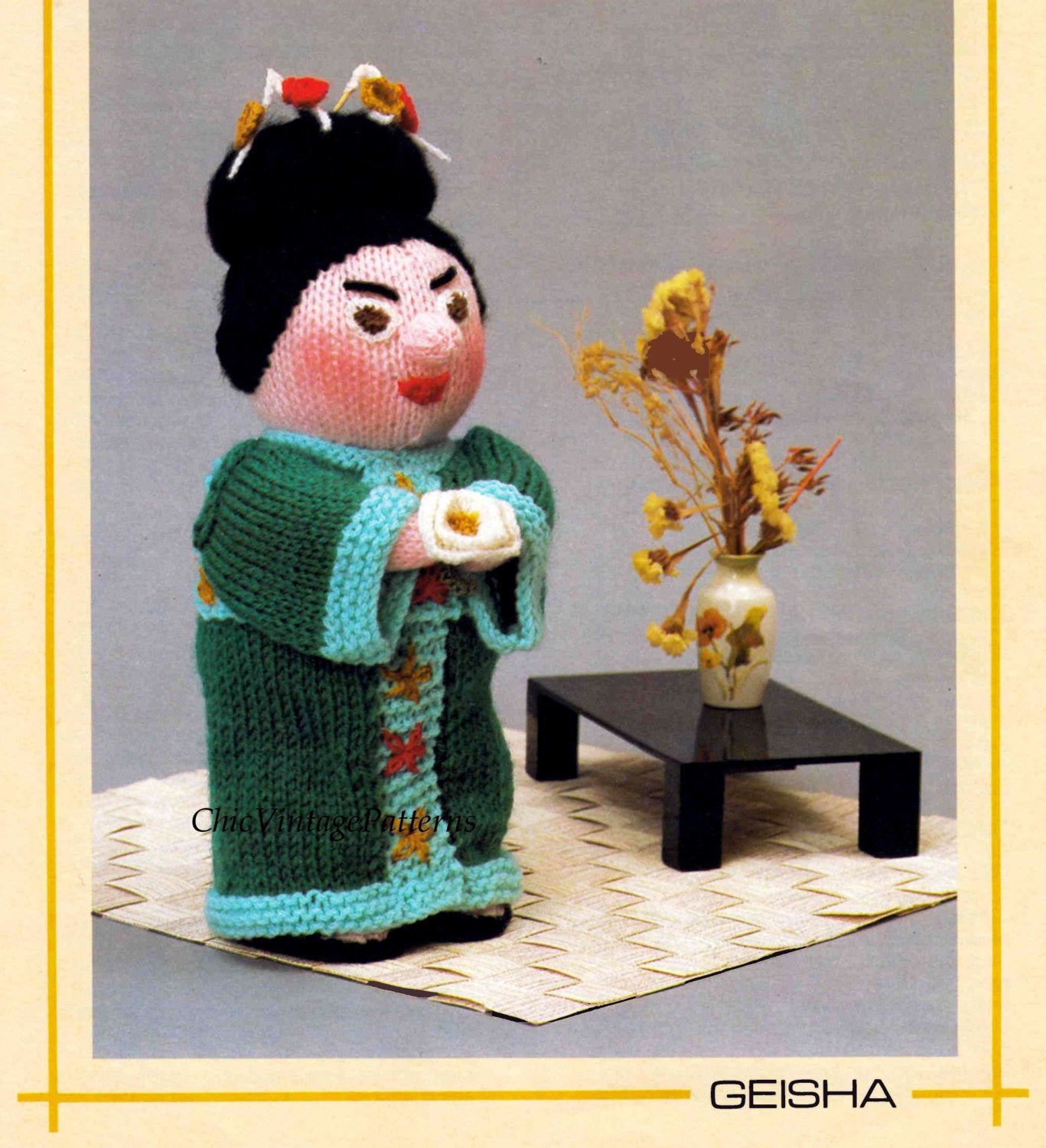 Knitted Soft Toy Pattern, Geisha Doll, Instant Download