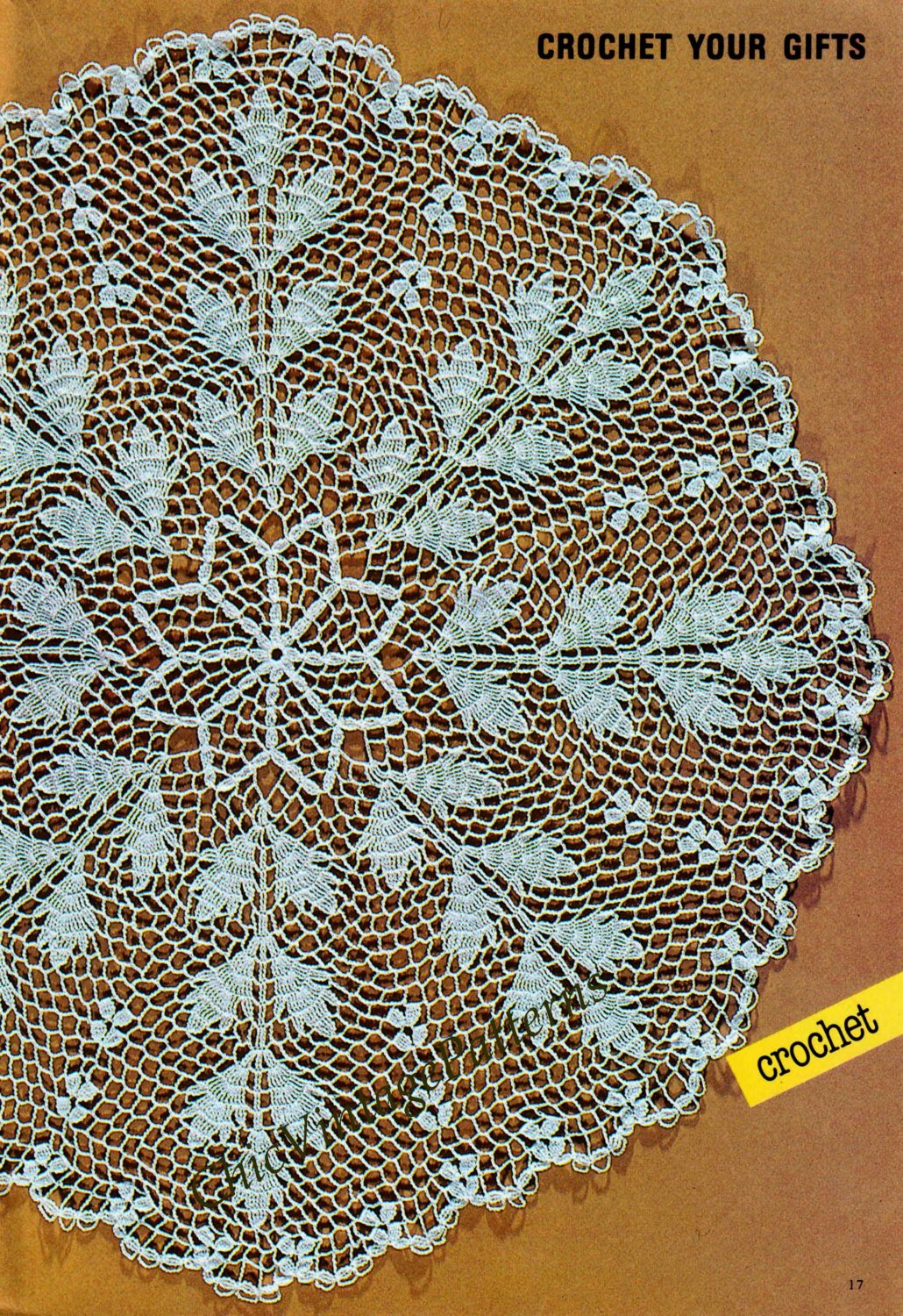 Crochet Doily Pattern, Large Crochet Doily, Vintage Small Tablecloth, Instant Download