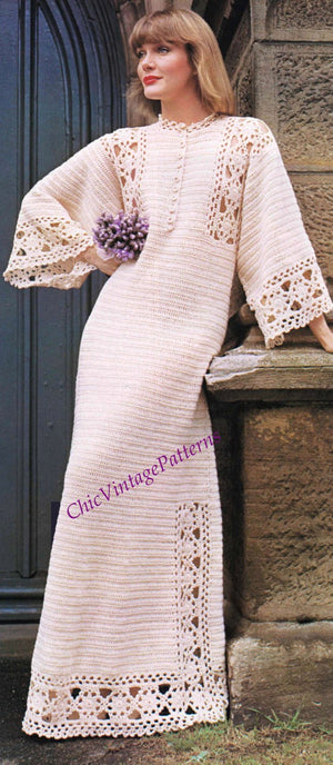 Ladies Wedding Dress Crochet Pattern, Instant Download, Hostess Gown