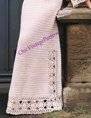 Ladies Crochet Dress Pattern, Long Retro Dress, Instant Download