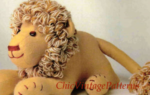 Lion Soft Toy Pattern, Vintage Sewing Pattern, Instant Download