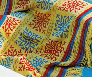 Knitted Afghan Rug and Cushion Pattern, Fair Isle Afghan, Instant Download