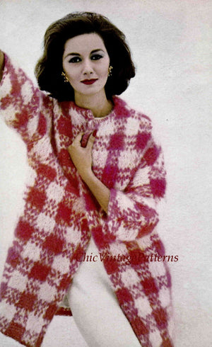 Knitted Ladies Mohair Check Coat Pattern, Instant Download