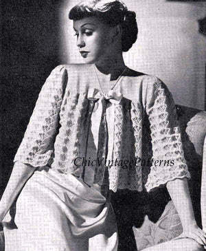 Ladies Bed Jacket Pattern, 1940's Knitted Jacket, PDF Knitting Pattern