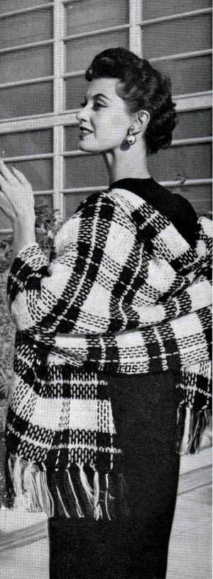 Crochet Tartan Wrap Pattern, Superb Plaid Shawl, Instant Download