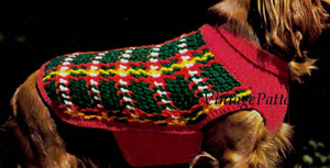 Crochet and Knitted Tartan Dog Coat, Instant Download, Plaid Coat