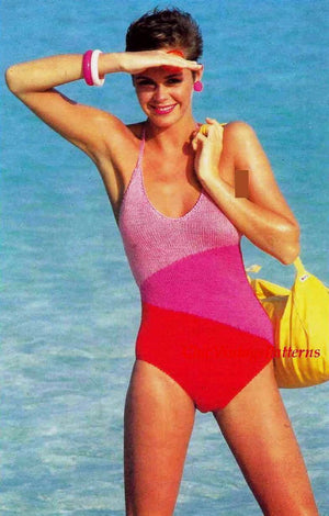 Knitted Swimsuit, One Piece Swimsuit Pattern, PDF Knitting Pattern