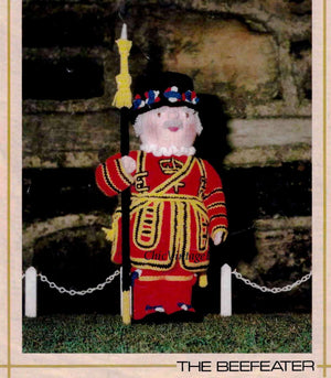 Knitted Soft Toy Beefeater Doll Pattern, Instant Download Pattern