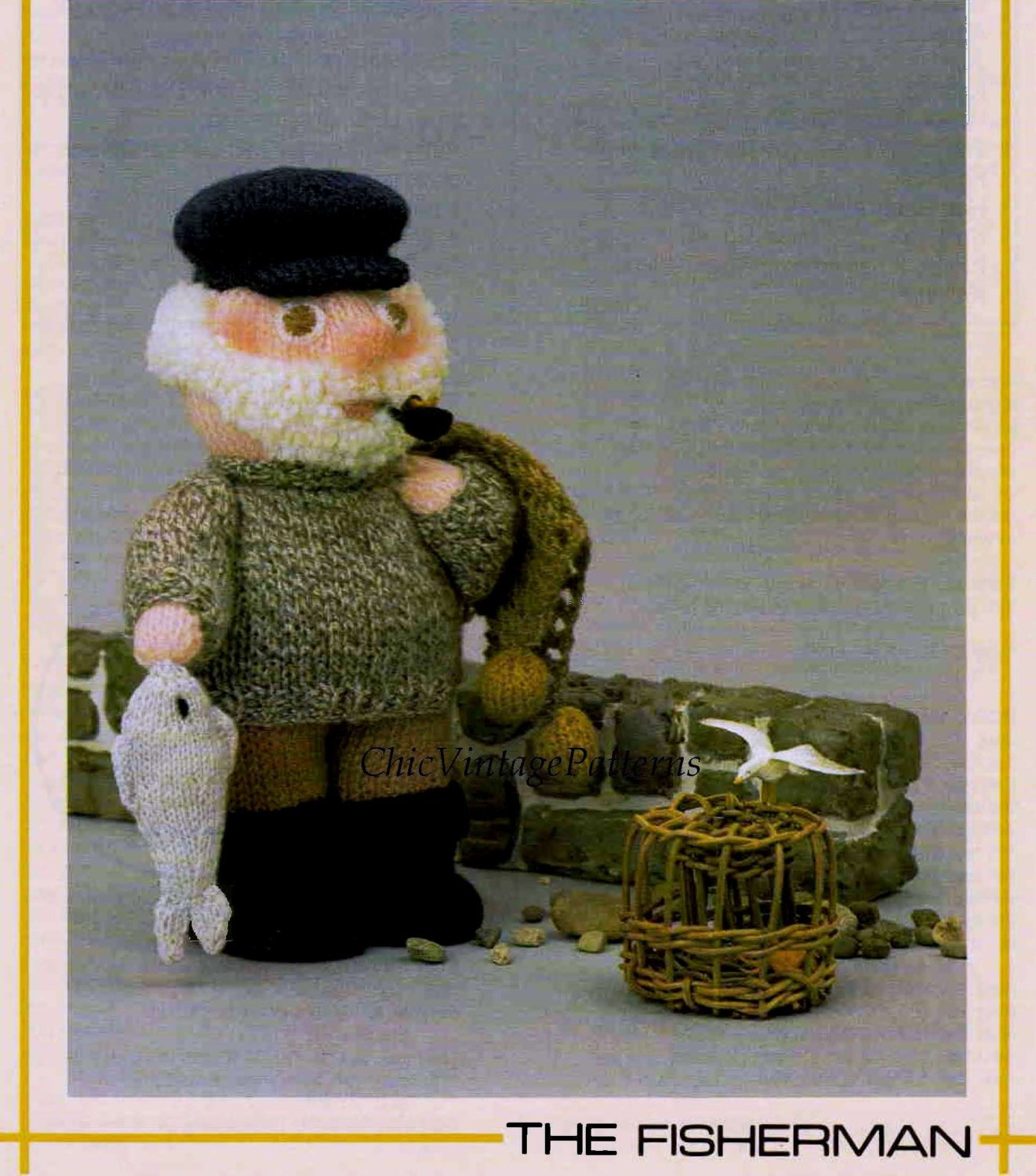 Knitted Soft Toy Pattern, Fisherman Doll, Instant Download