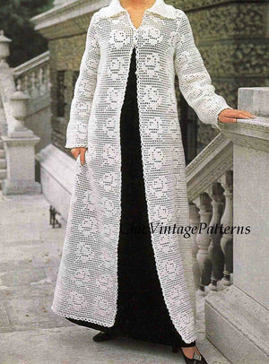 Crochet Coat Pattern, Instant Download, Elegant Wedding or Evening Coat