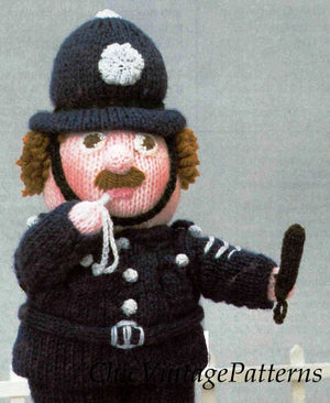 Knitted Policeman Pattern, Soft Toy Pattern, Instant Download