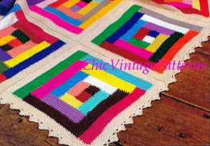 Crochet Afghan Rug Pattern, Vintage Log Cabin Rug, Instant Download
