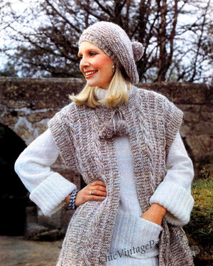 Knitted Ladies Jacket and Beret Pattern, Ladies Gilet, Instant Download