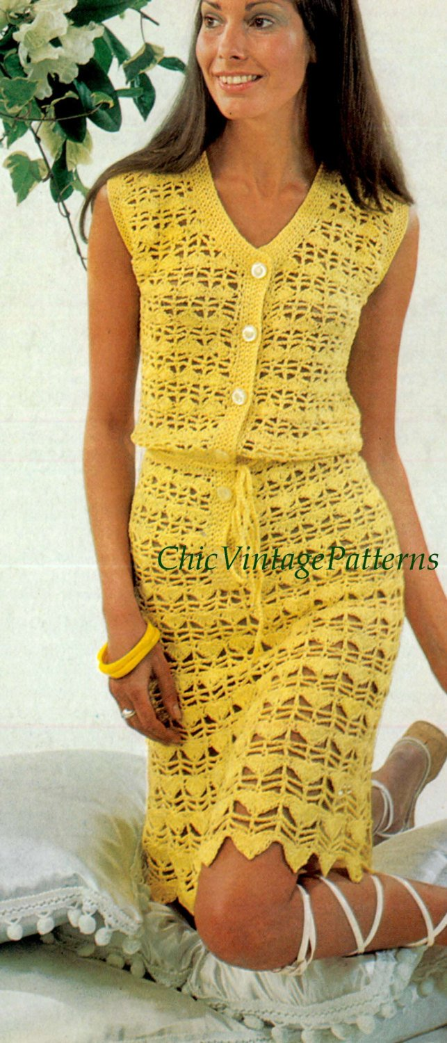 Ladies Crochet Summer Dress Pattern, Sleeveless Dress, PDF Crochet Pattern