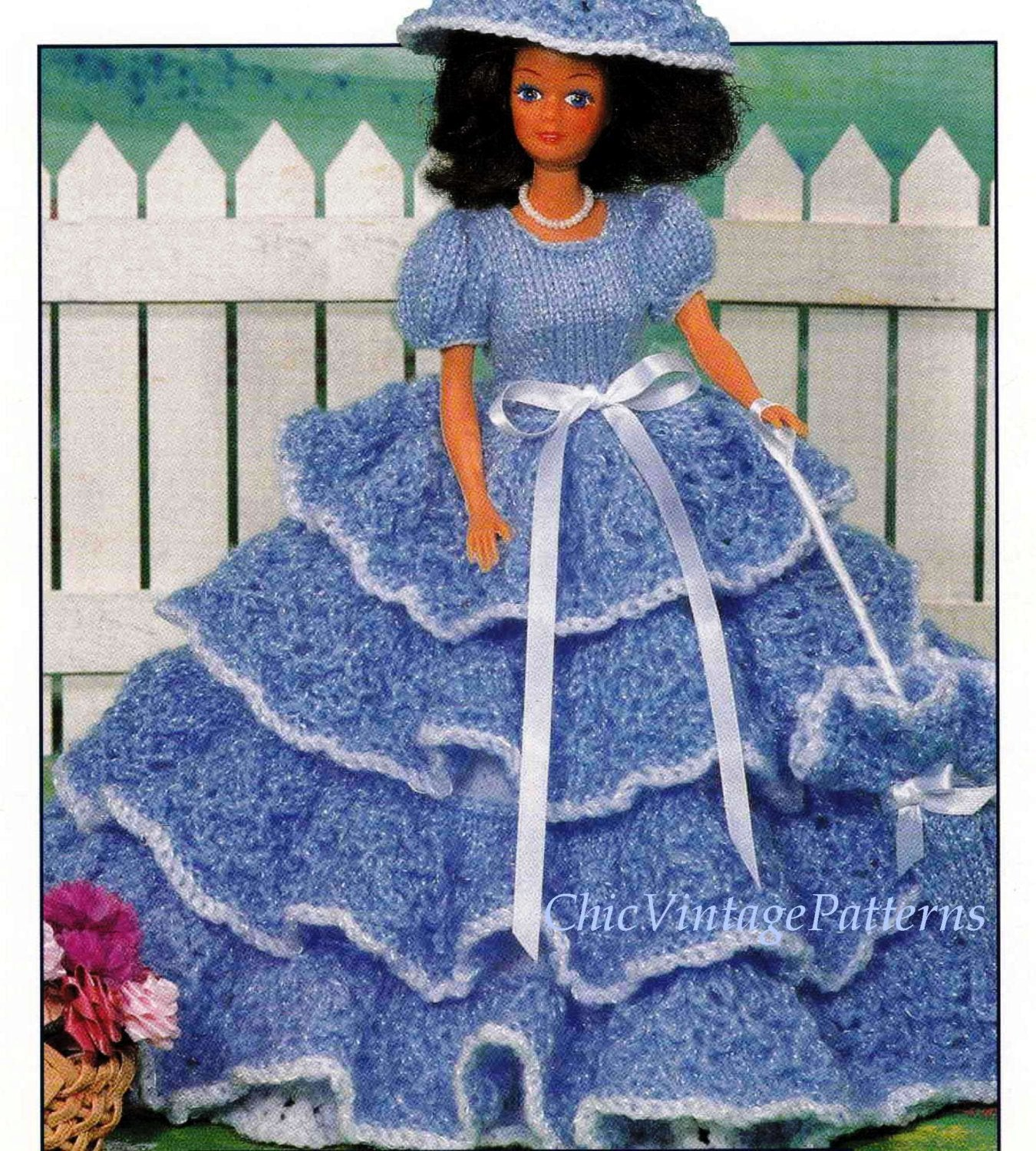 Knitted Doll's Dress Pattern, Southern Belle Dolls Dress, Instant Download