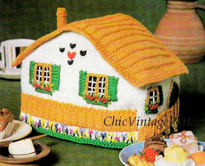 Knitted Tea Cosy Pattern, Swiss Chalet Cosy, Instant Download, Novelty Tea Cosy