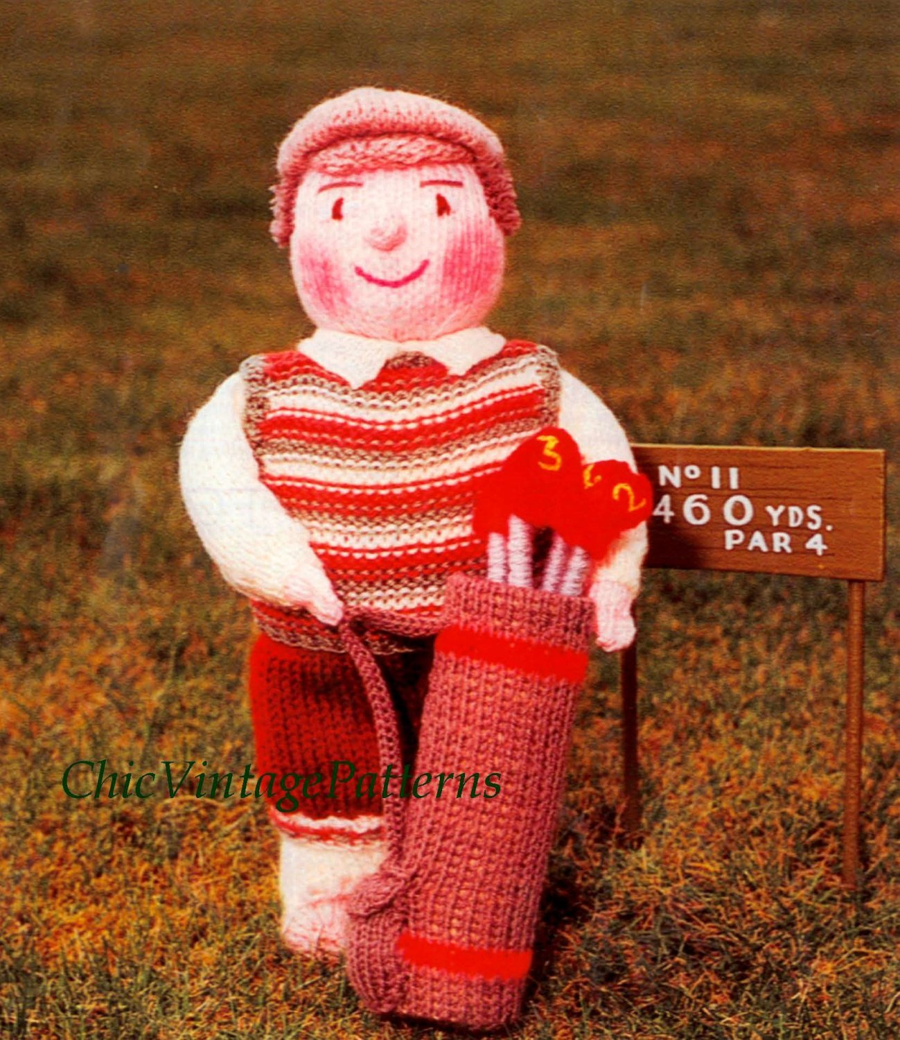 Knitted Soft Toy Pattern, Golfer Doll, Instant Download Pattern