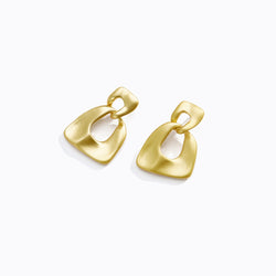 Gold Tone Interlocking Loop Earrings