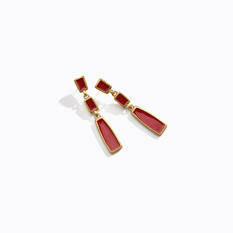 Geometric Burgundy Drop Earrings